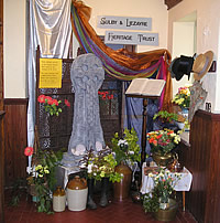 Flower exhibit in the porch of Sulby Methodist Church for the flower festival
